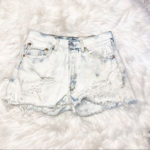 Levi's Button Fly Jean Shorts Destroyed Bleached